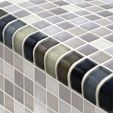 "AIM Black Charcoal Gray Taupe Mosaic Tile Blend Trim, 1x2"", 1 lineal foot"