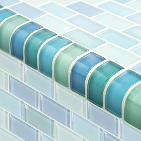 "AIM Turquoise Blue Mosaic Tile Blend Trim, 1x2"", 1 lineal foot"