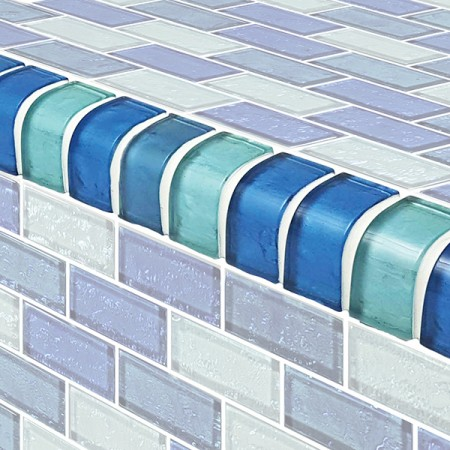 "AIM Blue IR Blend Mixed Mosaic Tile Coping Trim, 1x2"", 1 lineal foot"