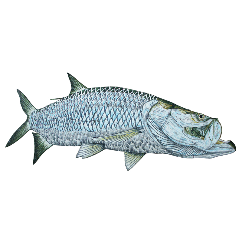 Tarpon Fish Handcut Glass Mosaic Pool Mural 6', 1 mural
