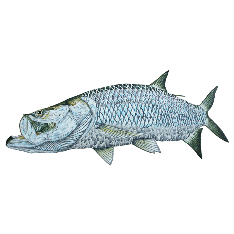 Tarpon Fish Handcut Glass Mosaic Pool Mural 8', 1 mural