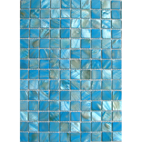 "Teal River Shell Mosaic Sheet, 20mm-3/4"", 1 tile"