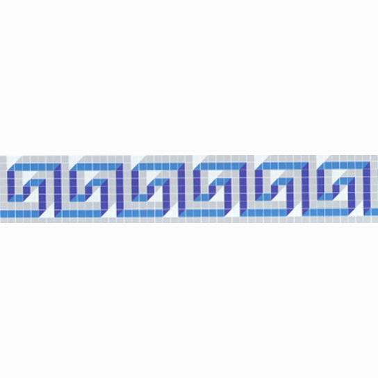 "Tekton Glass Mosaic Waterline or Border 7.25"" High, 1 Lineal Foot"