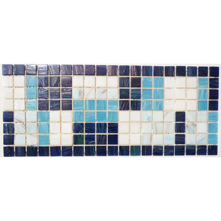 "Tiffany Window Glass Mosaic Waterline or Border 6.75"" High, 1 Lineal Foot"