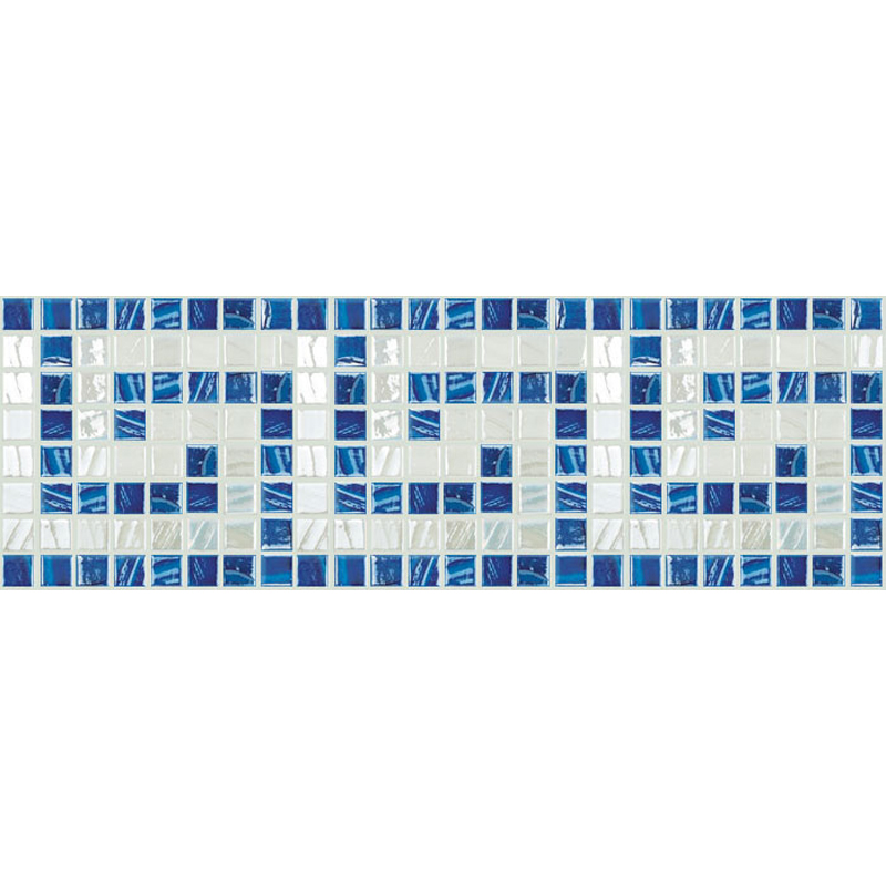 "Titanium Greek Key Glass Mosaic Waterline or Border 9"" High, 1 Lineal Foot"