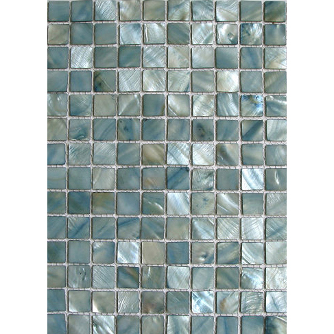 "Turquoise Blue River Shell Mosaic Sheet, 20mm-3/4"", 1 tile"