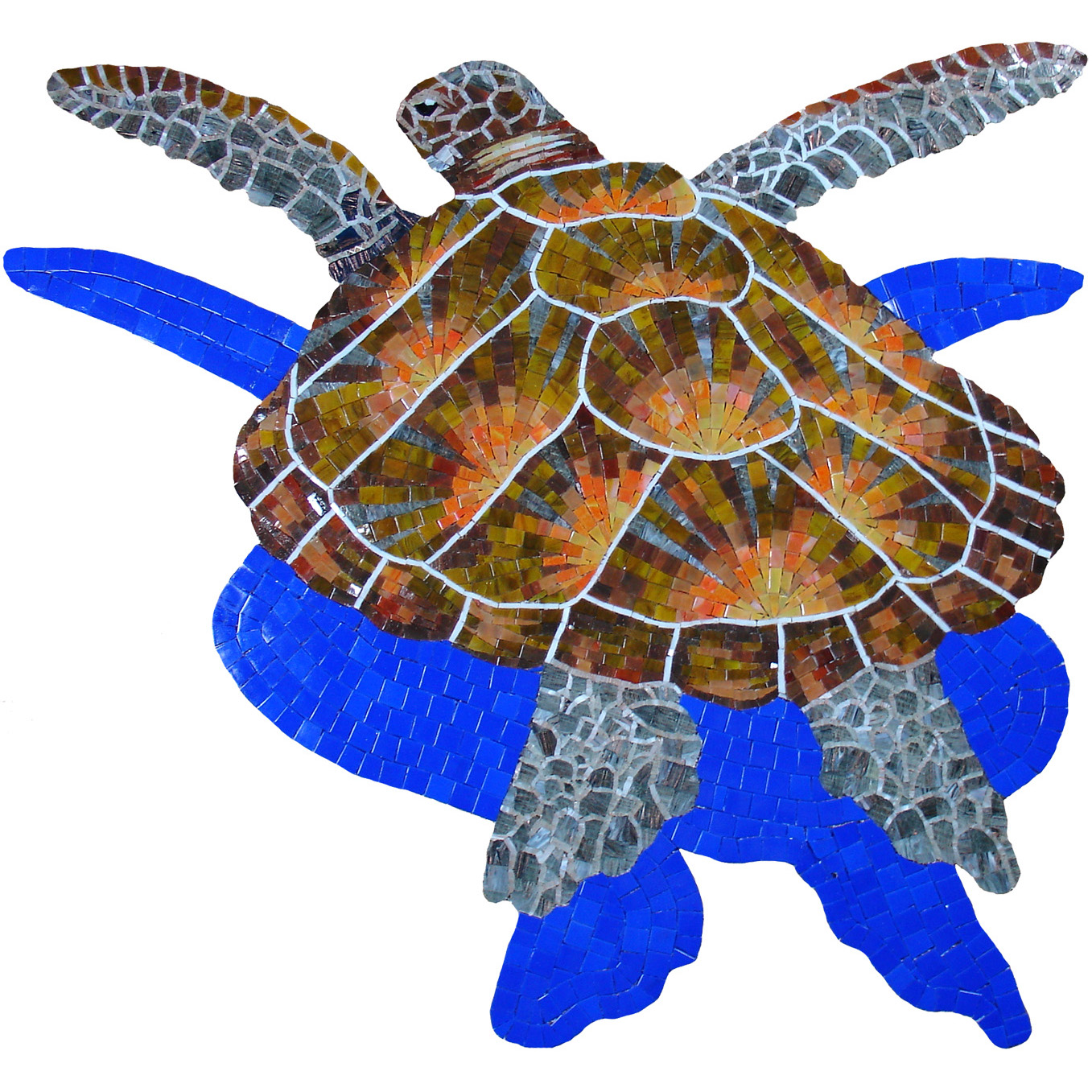 "Loggerhead Glass Mosaic Turtle Large, with shadow, 36 x 38"", 1 mural"