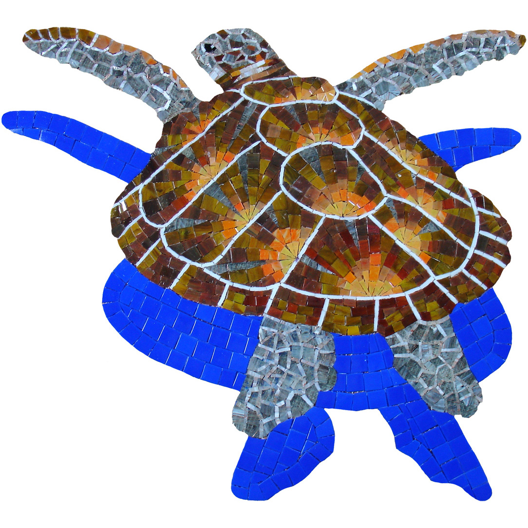 "Loggerhead Glass Mosaic Turtle Small, with shadow, 28 x 29"", 1 mural"