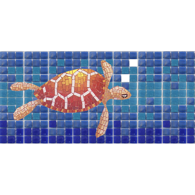 "Bubbles and Turtle 10mm & Handcut Glass Mosaic Waterline or Border 5"" High, 1 Lineal Foot"
