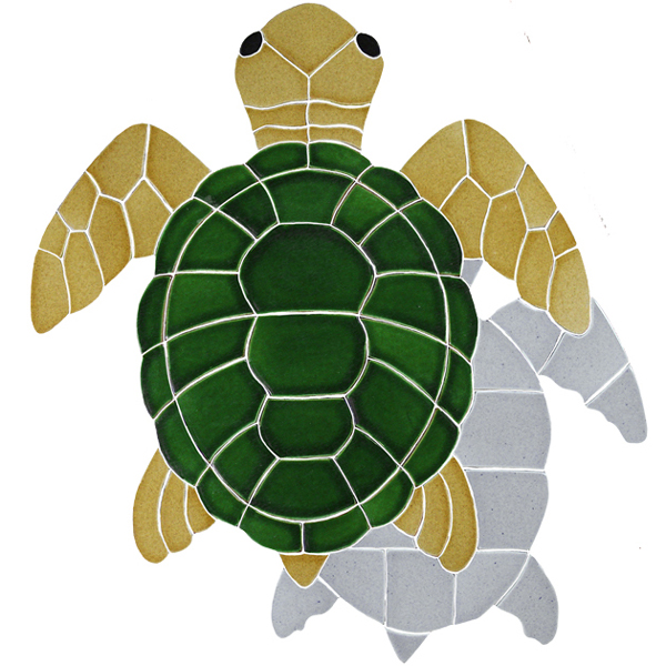 Ceramic Mosaic Turtle Pool Murals