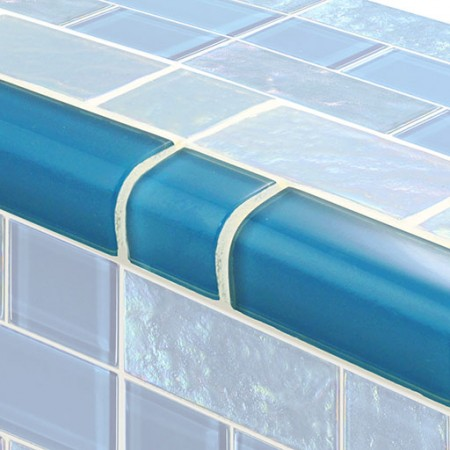 AIM Twilight Azure Mixed TRIM Glass Mosaic Tile, 1 lineal foot