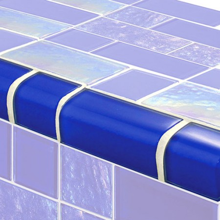 AIM Twilight Royal Blue Mixed TRIM Glass Mosaic Tile, 1 lineal foot