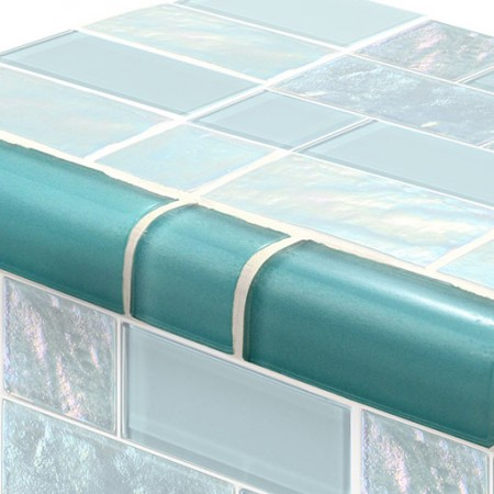 AIM Twilight Turquoise Mixed TRIM Glass Mosaic Tile, 1 lineal foot