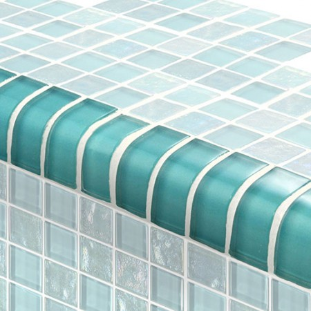 "AIM Twilight Turquoise TRIM Glass Mosaic Tile, 1x2"", 1 lineal foot"