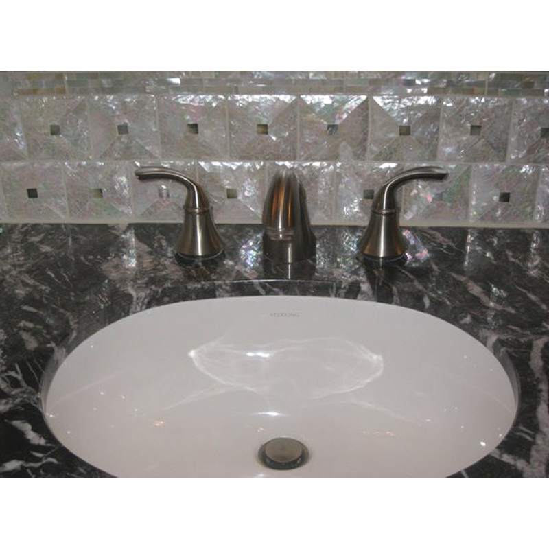 Bathroom Backsplash 2 with Mother of Pearl Pillow Tiles