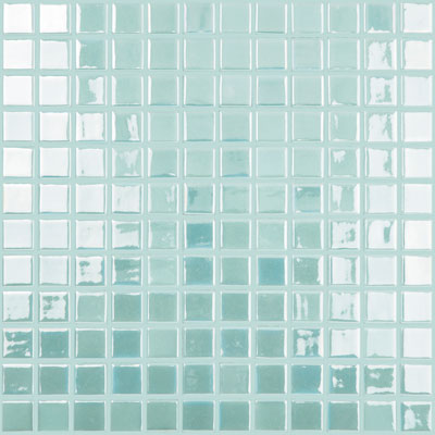 "Fire Glass Light Blue #107 Vidrepur Glow in the Dark Glass Mosaic Tile, 25mm - 1"", 1 sheet"