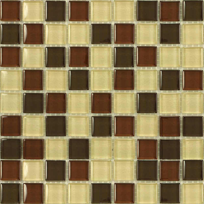 Kalahari Gloss Blend Villi Glass Mosaic Tile, 1 sheet