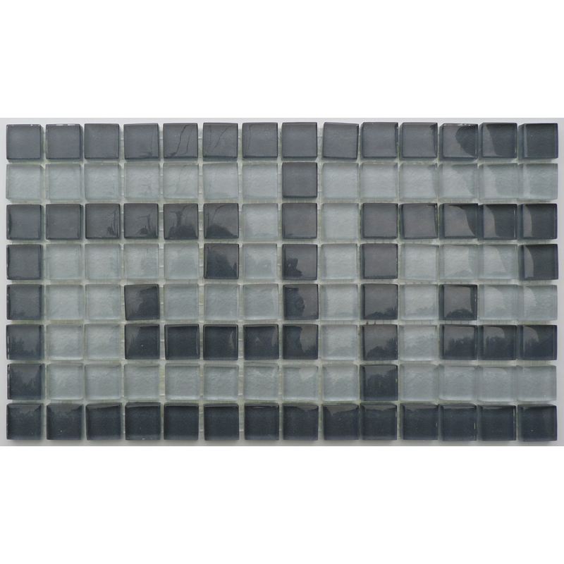 "Villiglass 3 Clasp Greek Key Glass Mosaic Waterline or Border 7 3/4"" High, 1 Lineal Foot"