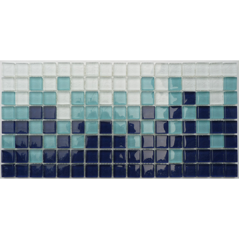 "Villiglass Gradient Glass Mosaic Waterline or Border 7 3/4"" High, 1 Lineal Foot"