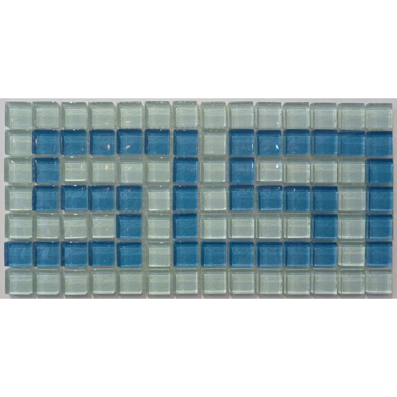 "Villiglass 2 Greek Key Glass Mosaic Waterline or Border 6 3/4"" High, 1 Lineal Foot"