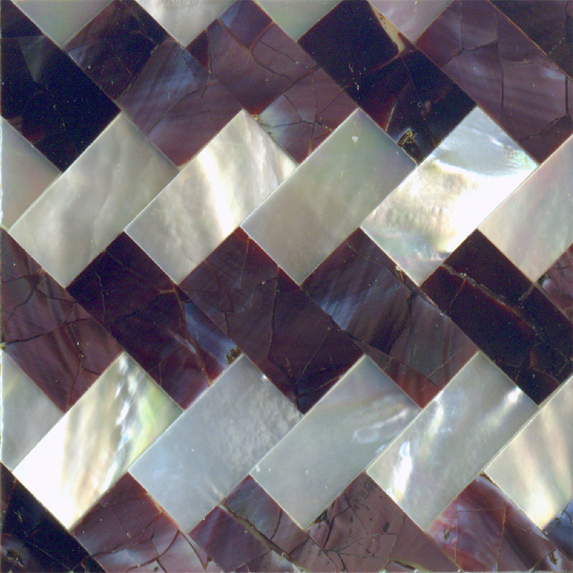 "Violet Oyster & White Mother of Pearl Zig Zag Shell Tile 2"" x 2"", 1 Tile"