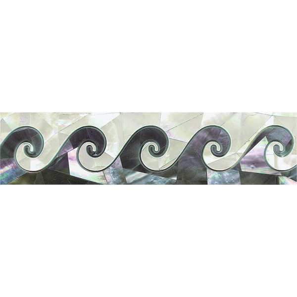 "Wave Border in Black & White Mother of Pearl 2x8"", 1 piece"