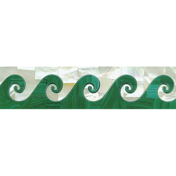 "Wave Border in Malachite & White Mother of Pearl 2x8"", 1 piece"