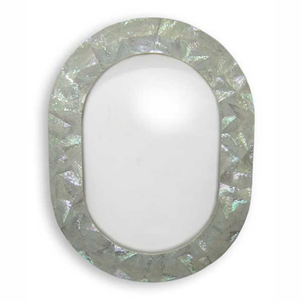 "Abalone Crackle Shell Mirror, 22"" x 34"" Oval, 1 piece"
