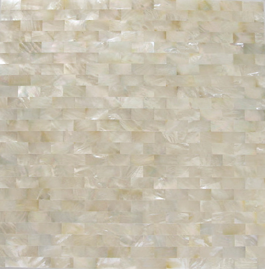 "White Mother of Pearl Brick 10x20mm Seamless Shell Mosaic Tile, 11.8x11.8"", 1 tile"