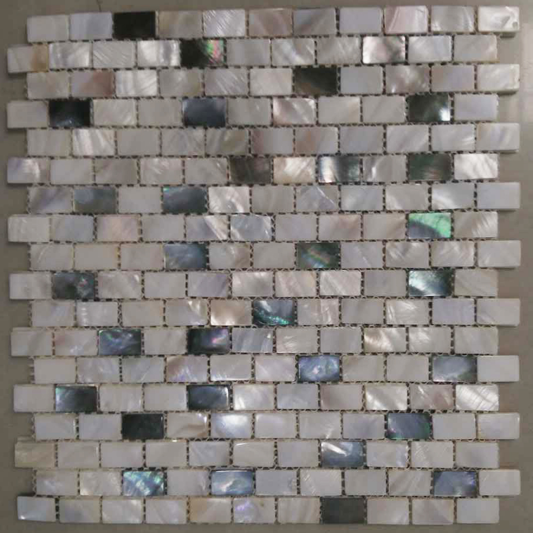 White River & 20% Black Mother of Pearl Brick Mosaic Sheet 10x20mm, 1 tile