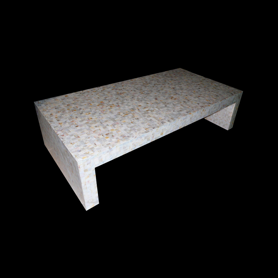 White River Shell Cabibe Custom Seashell Coffee Table