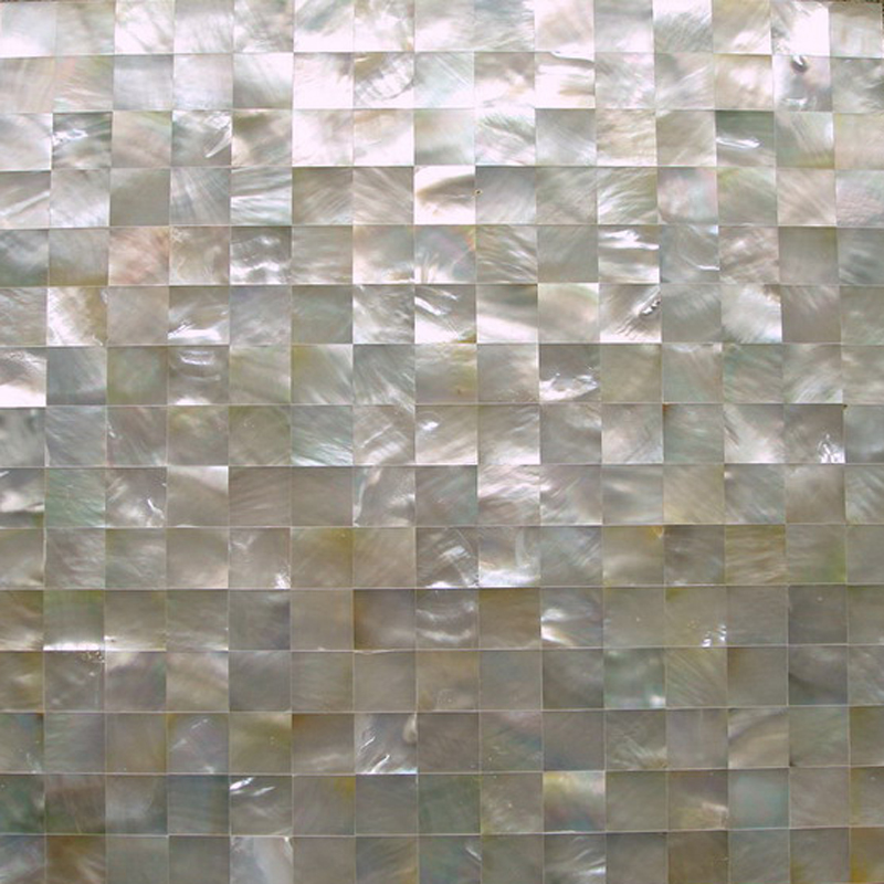 "White Mother of Pearl 20mm Squares Seamless Shell Mosaic Tile 11.8x11.8"", 1 tile"