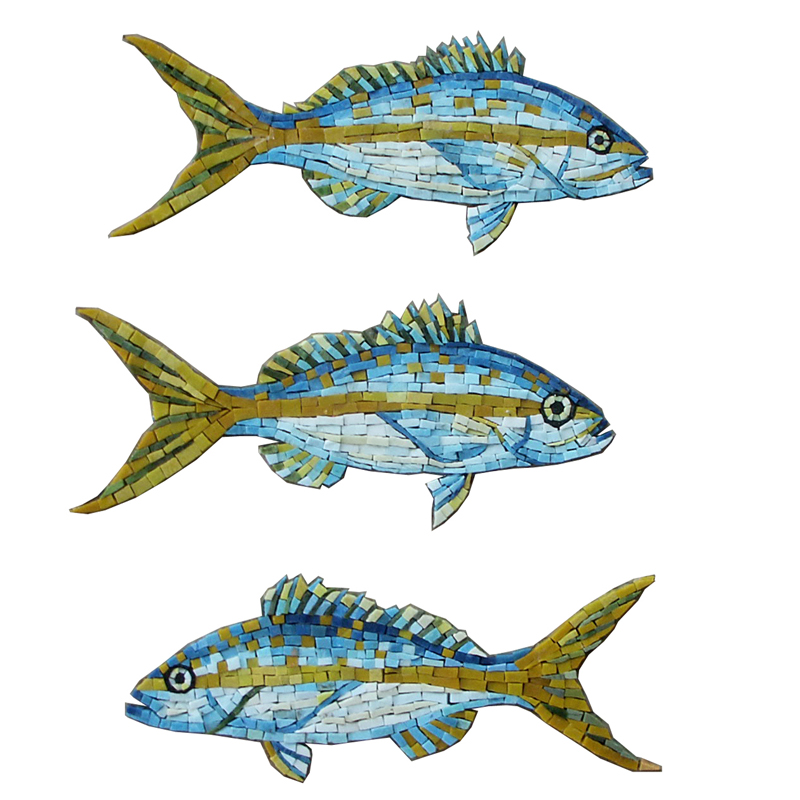 "3 Yellow Snapper Fish Handcut Glass Mosaic Pool Mural 16"" each, 1 set"