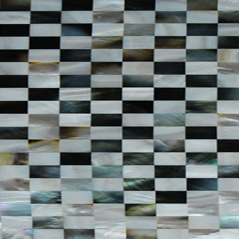 "Black & White Mother of Pearl Brick Seamless Shell Mosaic Tile 11.8x11.8"", 1 tile"