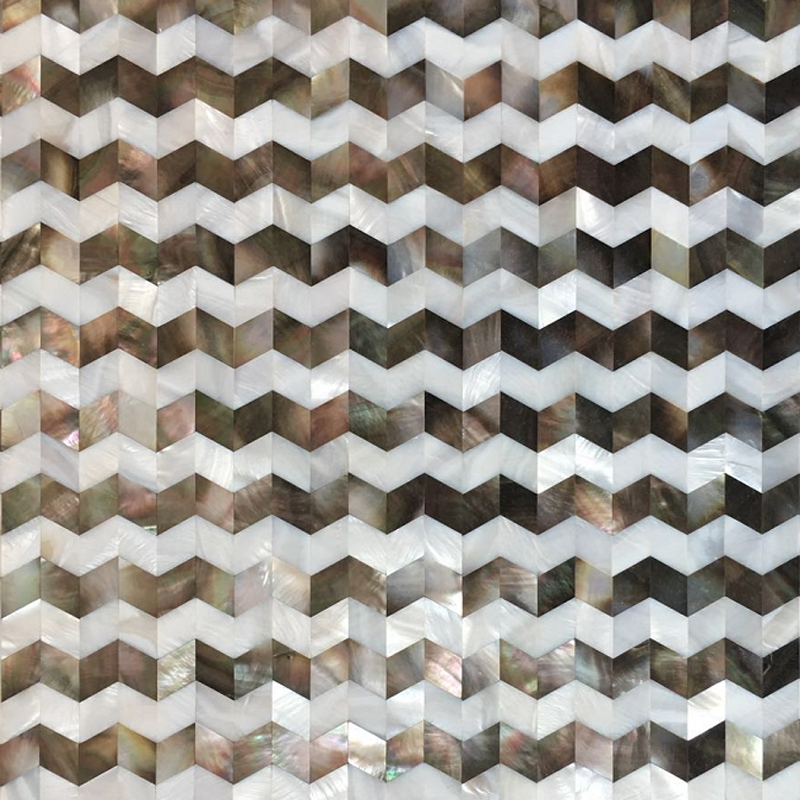 "Chevron Stripe II Black Mother of Pearl & White River Seamless Shell Mosaic Tile 11.8x11.8"", 1 tile"