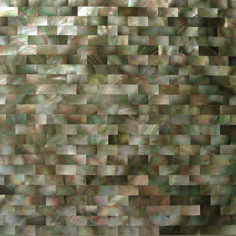 "Black Mother of Pearl Brick Seamless Shell Mosaic Tile 11.8x11.8"", 1 tile"