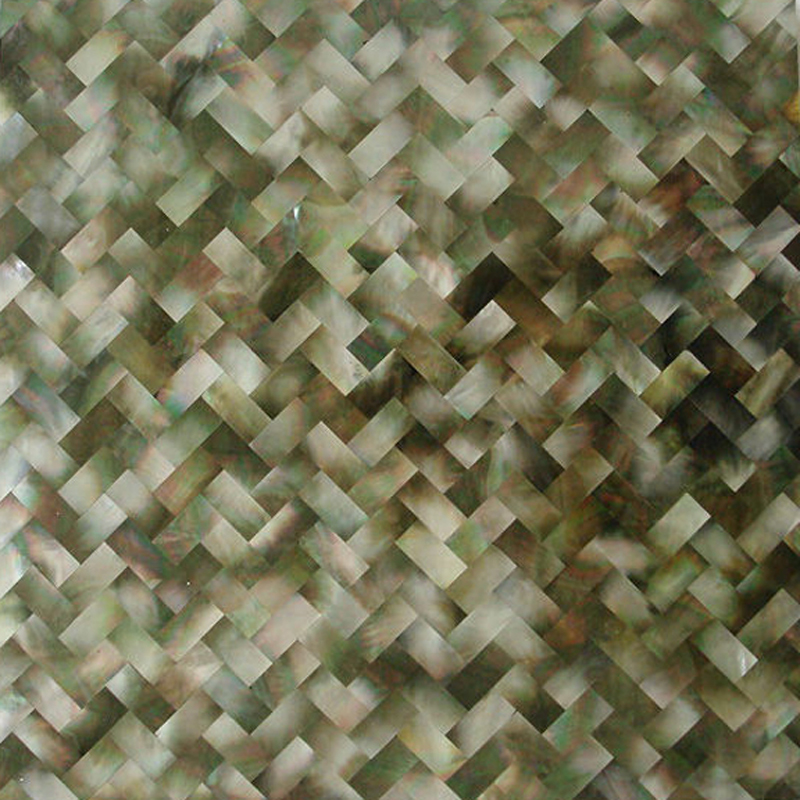 "Black Mother of Pearl Weave Herringbone Seamless Shell Mosaic Tile 11.8x11.8"", 1 tile"