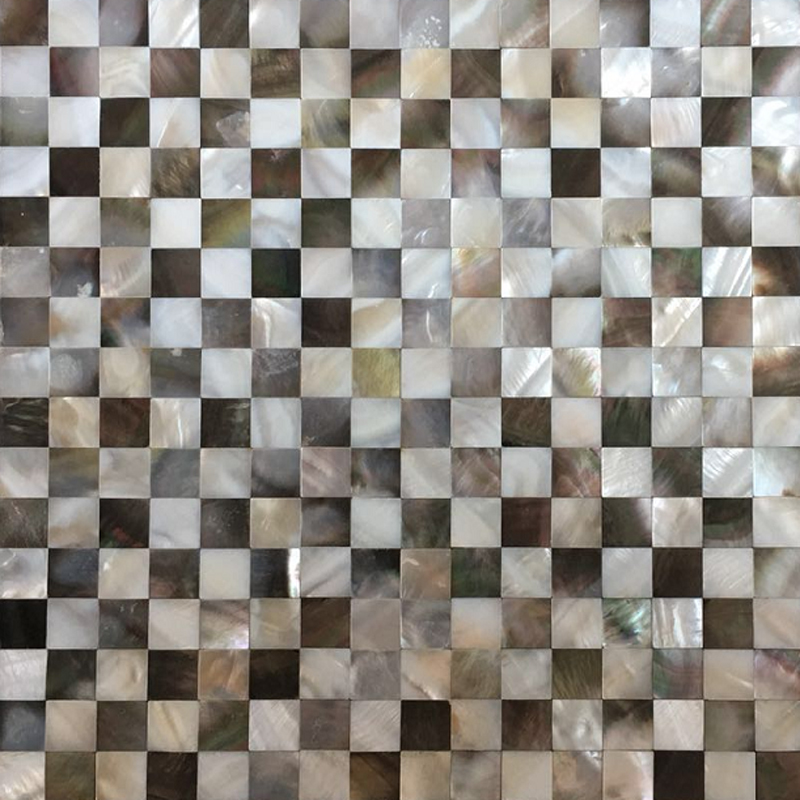 "Black Mother of Pearl & White River Check Seamless Shell Mosaic Tile 11.8x11.8"", 1 tile"