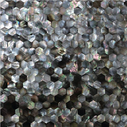 "Black Mother of Pearl Hexagon Seamless Shell Mosaic Tile 11.8x11.8"", 1 tile"