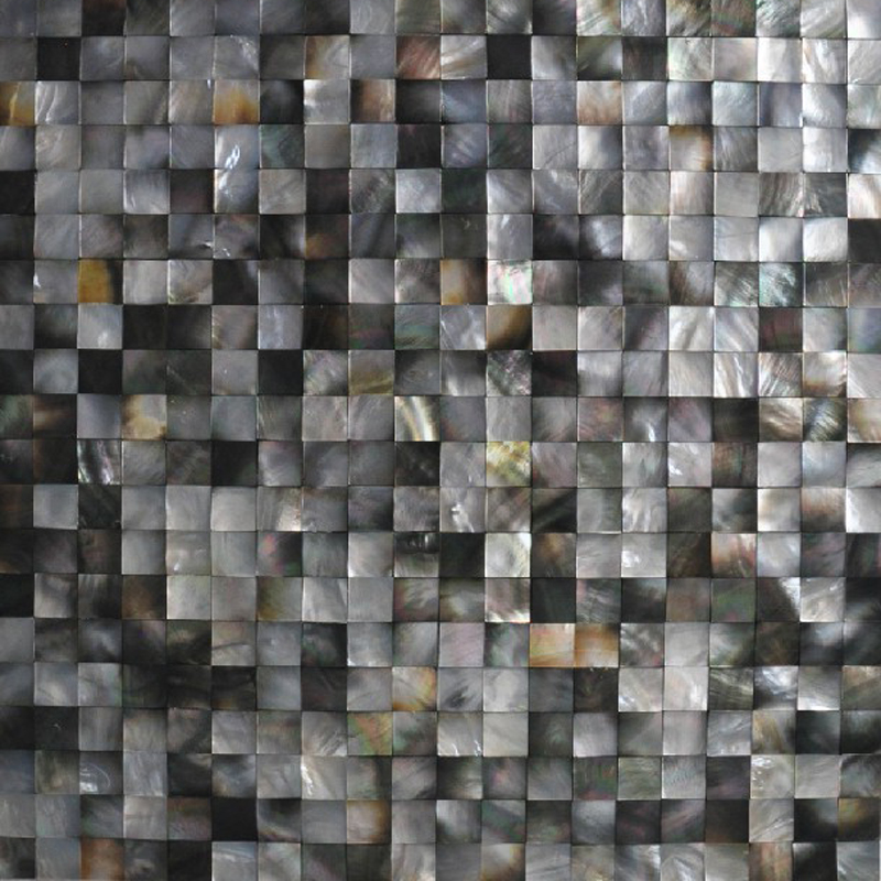 "Black Mother of Pearl Square Seamless Shell Mosaic Tile, 15mm, 11.8x11.8"", 1 tile"