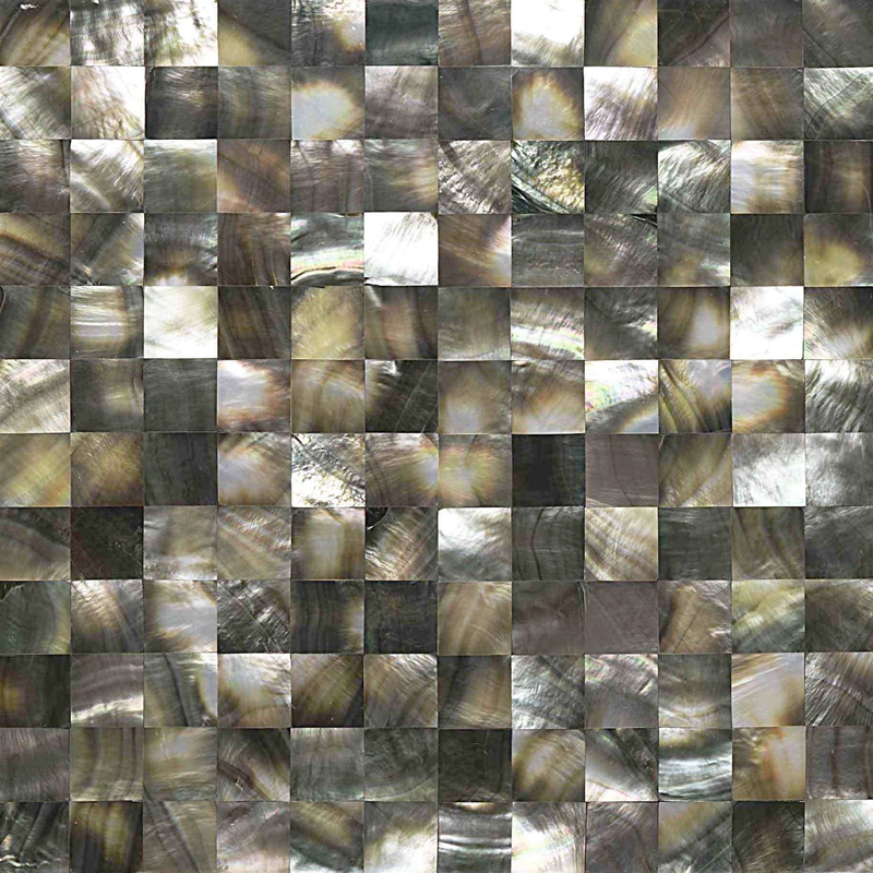 "Black Mother of Pearl Square Seamless Shell Mosaic Tile, 25mm, 11.8x11.8"", 1 tile"