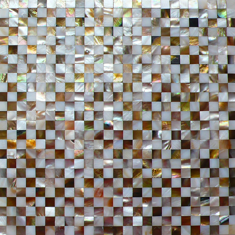"Brown  & White River 15mm Check Seamless Shell Mosaic Tile 11.8x11.8"", 1 tile"