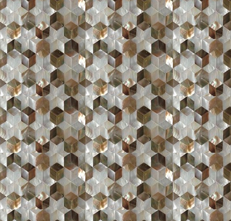 "Brown Mother of Pearl & White River Star Seamless Shell Mosaic Tile 11.8x11.8"", 1 tile"