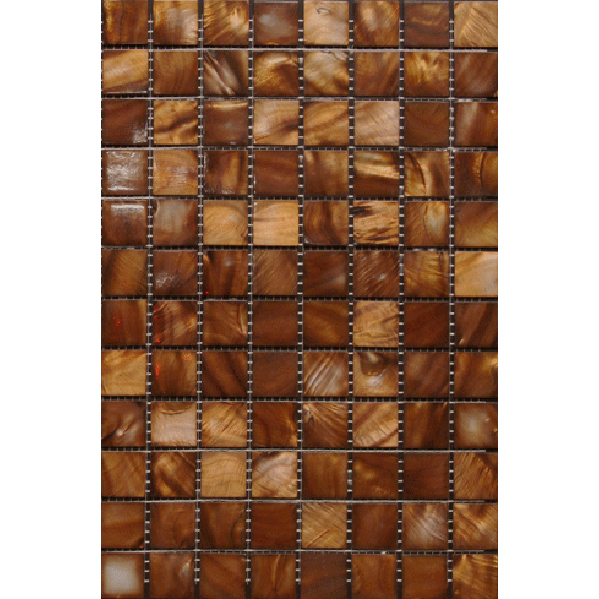 "Brown River Shell Mosaic Sheet, 20mm-3/4"", 1 tile"