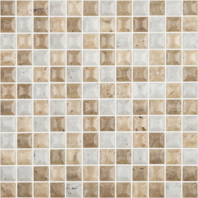 "Edna 3D Travertino Blend Matte Stones Series Vidrepur Glass Mosaic Tile, 25mm - 1"", 1 sheet"