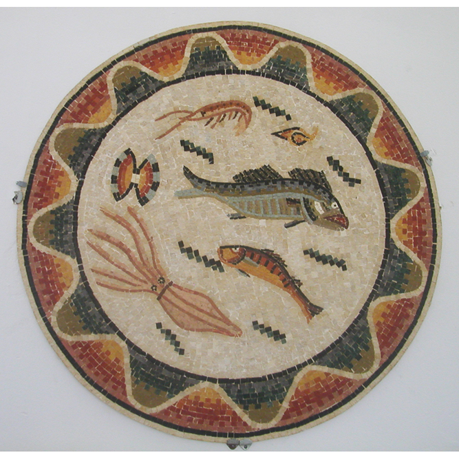 "Roman Fish Handcut Stone Mosaic Medallion 48"" Circle, 1 piece"