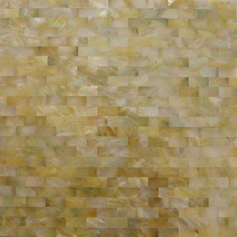 "Gold Mother of Pearl Brick Seamless Shell Mosaic Tile 11.8x11.8"", 1 tile"