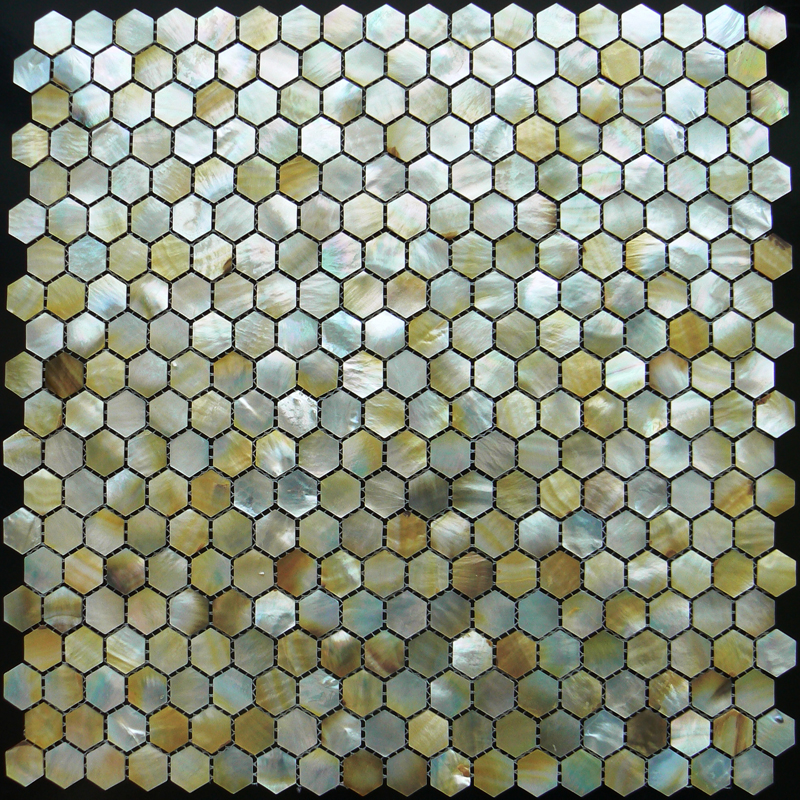 Gold Mother of Pearl Hexagon Shell Mosaic Sheet 25mm, 1 tile