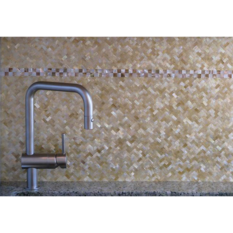 Gold Mother of Pearl Kitchen Backsplash