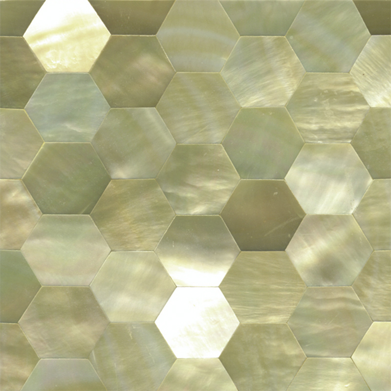 "Gold Mother of Pearl Hexagon Honeycomb Shell Tile, 4x4"", 1 Tile"